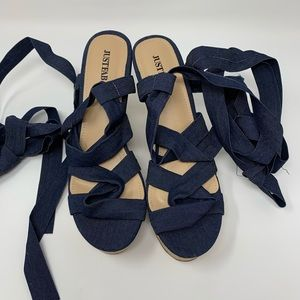 JUSTFAB Lace up open toe wedges, used